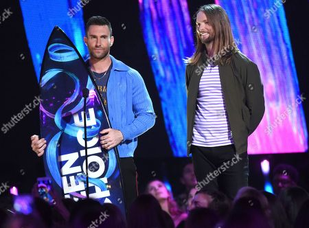 Adam Levine, James Valentine Adam Levine, left, and James Valentine of Maroon 5, accept the decade award at the Teen Choice Awards at the Galen Center, in Los Angeles