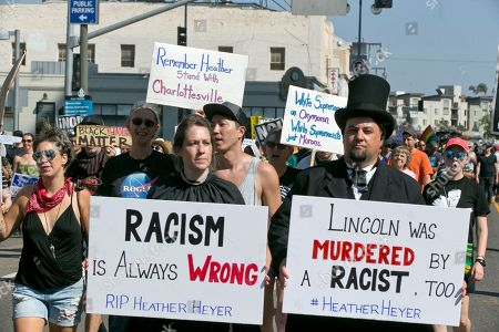 Editorial photo of Confederate Monument Protest Rallies, Los Angeles, USA - 13 Aug 2017