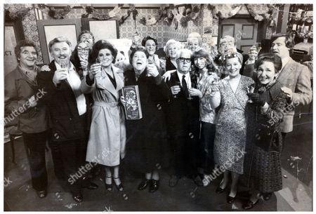 Television Programme : Coronation Street (1978) The Cast Celebration Coronation Street's 18th Birthday In The Rovers Return. (l-r) Len Fairclough (peter Adamson) Ron Mather (joe Lynch) Deirdre Langton (anne Kirkbride) Edie Yeats (geoffrey Hughes) Elsie Tanner (patricia Phoenix) Ena Sharples (violet Carson) Betty Turpin (betty Driver) Annie Walker (doris Speed) Albert Tatlock (jack Howarth) Bet Lynch (julie Goodyear) Gail Potter (helen Worth) Stan Ogden (bernard Youens) Hilda Ogden (jean Alexander) Emily Bishop (eileen Derbyshire) And Ken Barlow (bill Roache).