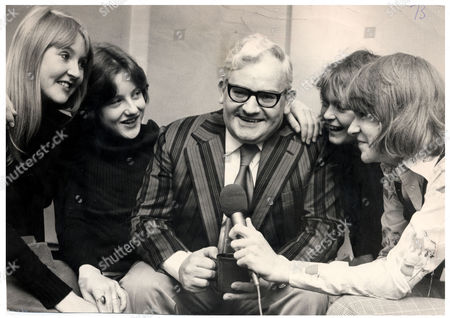 Ronnie Barker Comedian And Actor (died October 2005)is Pictured Being Interviewed At Piccadilly Radio Station By Judith Wainwright Ian Shaw Tony Hler And Christopher Lambert.