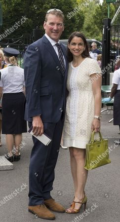 Sir Matthew Pinsent And Lady Demetra Pinsent Arrive At Wimbledon.