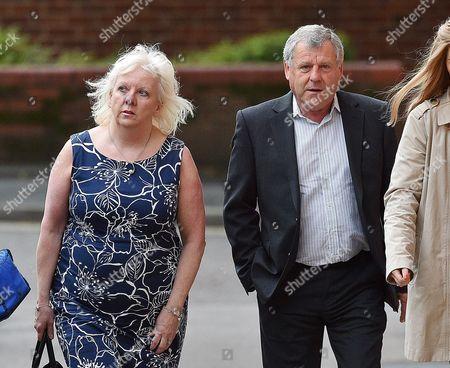 Stock Image of Sadie Hartley Murder Trial At Preston Crown Court Preston Lancs. Julie Taylor Business Partner Of Sadie Hartley And Hartley's Brother Graham Cook Arrive At Court.