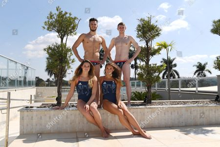 Gb Swimmers In Pampulha Belo Horizonte. L/r James Guy And Ross Murdoch Molly Renshaw Chloe Tutton Belo Horizote For The Rio Olympics Brazil.Olympics Feature.