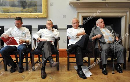 Judges Alain Roux, Michel Roux Junior, Michel Roux Senior and Albert Roux