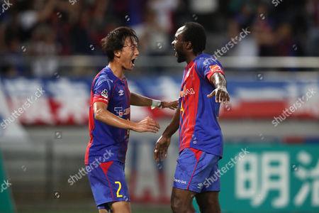 (L to R) Sei Muroya (FC Tokyo), Peter Utaka (FC Tokyo) celebrate