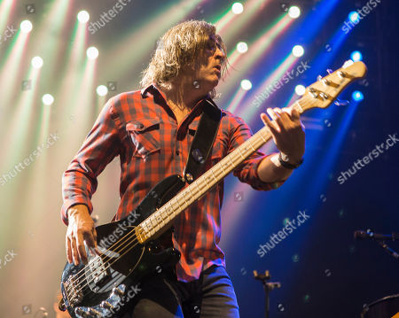 Stock Photo of Brian Yale with Matchbox Twenty performs during the Matchbox Twenty & Counting Crows: A Brief History Of Everything Tour at Lakewood Amphitheatre, in Atlanta