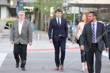 Austin Swift, (C) Taylor Swifts brother, enters court for closing statements Swift v Mueller a civil trial in federal court