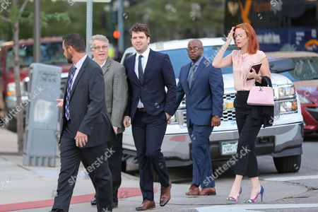 Austin Swift (C), Taylor Swifts brother, Tree Paine (R), publicist for singer Taylor Swift enters court for closing statements Swift v Mueller a civil trial in federal court