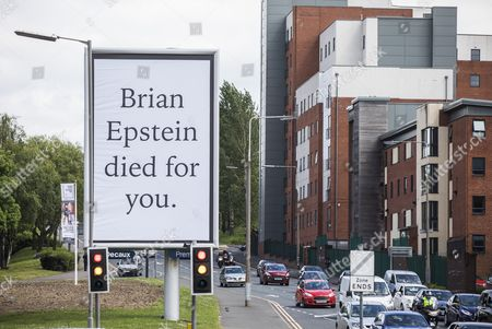 Works by Artist Jeremy Deller titled 'With A Little Help From My Friends' This work is in Erskine Street in Liverpool and are based on The Beatles manager Brian Epstein