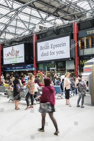 Works by Artist Jeremy Deller titled 'With A Little Help From My Friends' This work is in Liverpool Lime Street Station and are based on The Beatles manager Brian Epstein