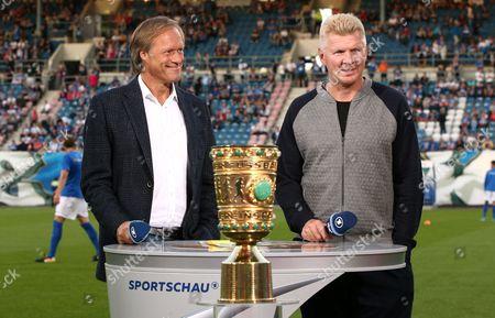 Journalist Moderagoal Gerd Delling, ARD Sportschau Expert Stefan Effenberg