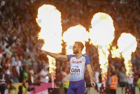 Martyn Rooney of Great Britain celebrates bronze in the Men's 4x400 metres relay final