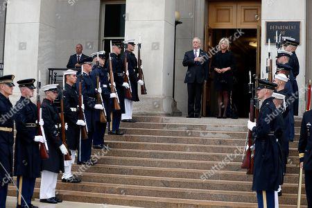 Jim Mattis, Jeanine Hennis-Plasschaert Defense Secretary Jim Mattis stands with Dutch Defense Minister Jeanine Hennis-Plasschaert as the national anthem is played, during an enhanced honor cordon at the Pentagon