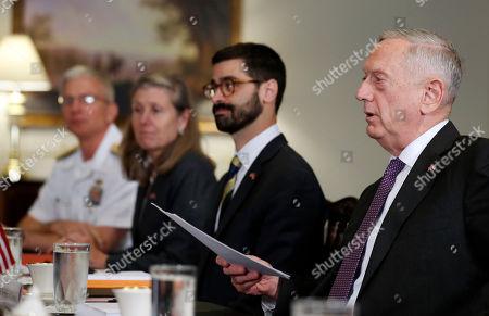 Defense Secretary Jim Mattis, right, speaks before a meeting with Dutch Defense Minister Jeanine Hennis-Plasschaert at the Pentagon