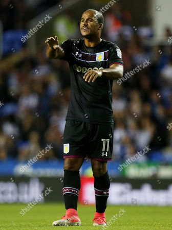 Gabriel Agbonlahor of Aston Villa shouts at team mates.
