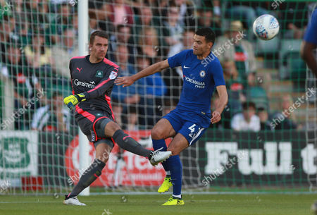 Plymouth's goalkeeper Robbert Te Loeke clears the threat from Chelsea's Isaac Christie-Davies during the Checkatrade Trophy match between Plymouth Argyle and Chelsea U21's on Tuesday 15th August 2017 at Home Park, Plymouth, Devon