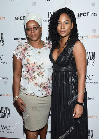 "Antoinette Warner, Natalie Paul Antoinette Warner, left, and Natalie Paul attend the premiere of Amazon Studios' and IFC Films', ""Crown Heights"", at Metrograph, in New York"
