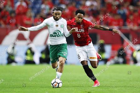 (L-R) Apodi (Chapecoense), Rafael da Silva (Reds)
