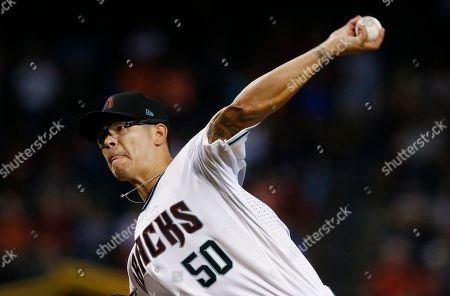 Arizona Diamondbacks' Anthony Timur Yunusov throws a pitch against the Houston Astros during the first inning of a baseball game, in Phoenix. The Astros defeated the Diamondbacks 9-4