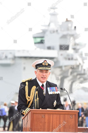 First Sea Lord Admiral Sir Philip Jones HMS Queen Elizabeth aircraft carrier in Portsmouth harbour