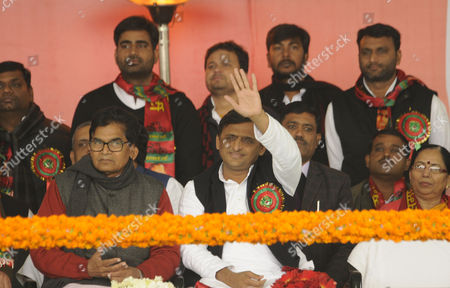LUCKNOW, INDIA - JANUARY 1: Uttar Pradesh Chief Minister Akhilesh Yadav along with Ram Gopal Yadav and party leaders at special emergency National convention of the party convened at Janeshwar Mishra Park, on January 1, 2017 in Lucknow, India. Party leaders congratulated Chief Minister Akhilesh Yadav after his appointment as national president of the party. A day after he forced his way back into the party, Akhilesh Yadav was appointed, by the national executive of the SP, as the new chief of the party and Mulayam Singh Yadav kicked upstairs as mentor.