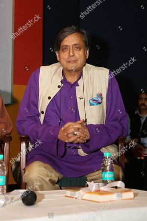 """NEW DELHI, INDIA - AUGUST 10: Congress MP Shashi Tharoor during the launch of a book, """"The Nation as Mother And Other Visions of Nationhood"""", by historian and politico, Sugata Bose, at Teen Murti Auditorium, on August 10, 2017 in New Delhi, India. The book includes researched essays and speeches that discuss India, its political evolution and more."""