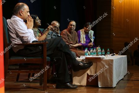 """NEW DELHI, INDIA - AUGUST 10: (L-R) Indian academics Pratap Bhanu Mehta, Seema Alavi, former President of India Pranab Mukherjee, Sugata Bose and Congress MP Shashi Tharoor during the launch of a book, """"The Nation as Mother And Other Visions of Nationhood"""", by historian and politico, Sugata Bose, at Teen Murti Auditorium, on August 10, 2017 in New Delhi, India. The book includes researched essays and speeches that discuss India, its political evolution and more."""
