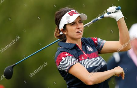 United States' Gerina Piller hits off the 18th tee during practice for the Solheim Cup golf tournament, in West Des Moines, Iowa
