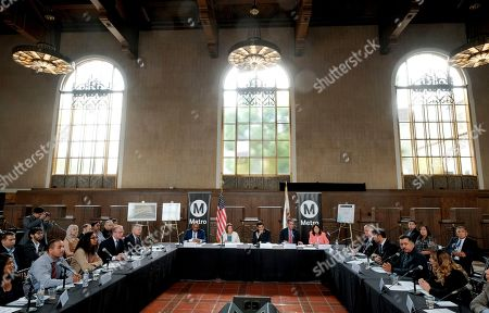 Los Angeles Mayor Eric Garcetti, is joined by Rep. Jimmy Gomez, D-Calif., and House Democratic Leader Nancy Pelosi, along with local officials and business leader during an infrastructure roundtable meeting at Union Station in Los Angeles on