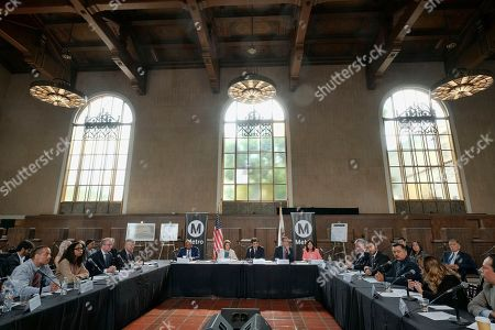 Stock Picture of Los Angeles Mayor Eric Garcetti, is joined by Rep. Jimmy Gomez, D-Calif., and House Democratic Leader Nancy Pelosi, along with local officials and business leader during an infrastructure roundtable meeting at Union Station in Los Angeles on