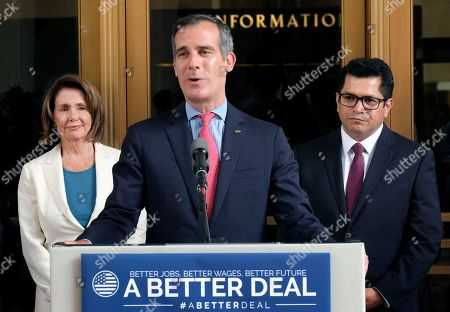 Eric Garcetti, Jimmy Gomez, Nancy Pelosi Los Angeles Mayor Eric Garcetti, center, is joined by Rep. Jimmy Gomez, D-Calif., right, and House Democratic Leader Nancy Pelosi, during a news conference at Union Station in Los Angeles on