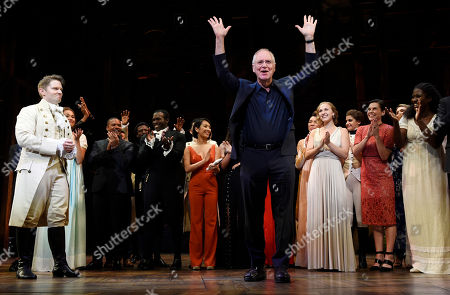 """Ron Chernow, author of the biography """"Alexander Hamilton,"""" is introduced to the audience on the opening night of the Los Angeles run of """"Hamilton: An American Musical"""" at the Pantages Theatre, in Los Angeles"""