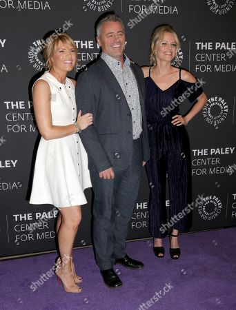 """Kathleen Rose Perkins, Matt LeBlanc, Mircea Monroe Kathleen Rose Perkins, from left, Matt LeBlanc and Mircea Monroe arrive at a premiere for the final season of """"Episodes"""" at The Paley Center for Media, in Beverly Hills, Calif"""