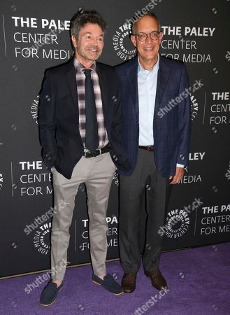 """Jeffrey Klarik, David Crane Creator/executive producers Jeffrey Klarik, left, and David Crane arrive at a premiere for the final season of """"Episodes"""" at The Paley Center for Media, in Beverly Hills, Calif"""