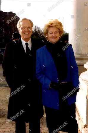 Actor And Television Presenter Nicholas Parsons With His Wife At The Leslie Crowther Memorial Service.