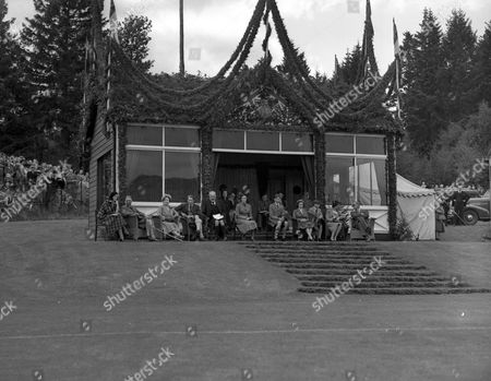 Elizabeth Farquharson Princess Margaret Prince Philip George Gordon 2nd Marquess Of Aberdeen The Queen Mother King George Vi And Alexander Farquharson At The Braemar Royal Highland Gathering. Glass Neg.