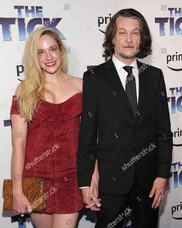"Ben Edlund, guest Executive producer Ben Edlund, right, and guest attend the premiere screening of Amazon's Series ""The Tick"" at Village East Cinema, in New York"