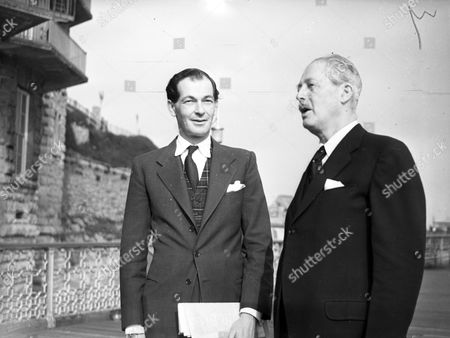 Prime Minister Harold Macmillan 1st Earl Of Stockton Seen At The Conservative Party Conference In Llandudno With His Son Maurice Macmillan. Glass Neg.