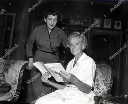 Actress Gladys Cooper Pictured With Peggy Ashcroft At The Haymarket Theatre. Cooper Is In 'the Chalk Garden'.
