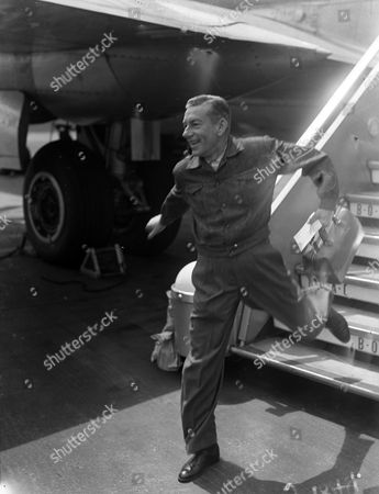 Hoagy Carmichael American Composer And Actor Seen Arriving At London Airport From New York For A Variety Tour Of The Uk. Glass Neg.
