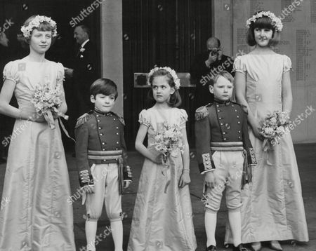 Bridesmaids And Pageboys At The Wedding Of Hon. Richard Stanley M.p. And Miss Susan Aubrey-fletcher At The Guards Chapel Wellington Barracks. (not In Any Particular Order) Are: Simon Muir Edward Dugdale Caroline Smyth Elizabeth Waterhouse And Lacy Henrietta Churchill. Box 710 917101636 A.jpg.
