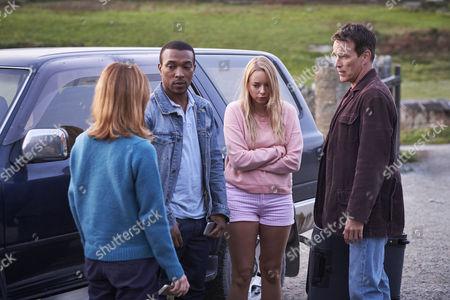 (Ep 1) Stephen Moyer as Tom Brook, Zoe Tapper as Sam, Sacha Parkinson as Dani and Ashley Walters as John.