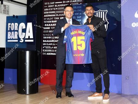Jose Paulo Bezerra Paulinho during his presentation as new FC Barcelona coach with the president Josep Maria Bartomeu.