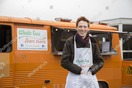 Stock Picture of The Sainsbury's Waste less Save more truck arrives at William Allitt School and Sainsburys store in Swadlincote with GBBO Andrew Smyth to cook for pupils some banana pancakes