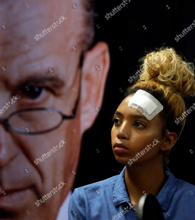 Gabriella Engels, looks on during a media conference in Pretoria, South Africa, . The model who accuses Zimbabwe's first lady of assault, 20-year-old Gabriella Engels, has been offered legal assistance by a prominent lawyer who secured the murder conviction of Oscar Pistorius