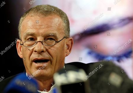Gerrie Nel, a former state prosecutor who now works as a private prosecutor for AfriForum, speaks during a media conference in Pretoria, South Africa, . The model who accuses Zimbabwe's first lady of assault, 20-year-old Gabriella Engels, has been offered legal assistance by a prominent lawyer who secured the murder conviction of Oscar Pistorius