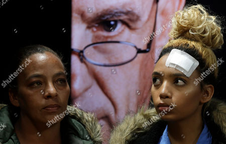 Gabriella Engels, right, and her mother, Debbie Engels look on during a media conference in Pretoria, South Africa, . The model who accuses Zimbabwe's first lady of assault, 20-year-old Gabriella Engels, has been offered legal assistance by a prominent lawyer Gerrie Nel, who secured the murder conviction of Oscar Pistorius