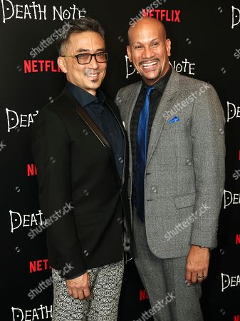 "Paul Nakauchi, David Mateo Paul Nakauchi, left, and David Mateo, right, attend the premiere of Netflix's original film ""Death Note"" at AMC Loews Lincoln Square, in New York"