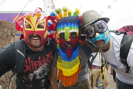 Stock Photo of Jun 23 2017 - Glastonbury United Kingdom - Mexican Wrestling Masks Worn by L-r Simon Roberts Scott Thornton and Frank Rank (credit Image: Â