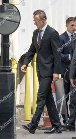 Jul 6 2017 - London United Kingdom - Hungarian Foreign Minister Péter Szijjártó Arrives at 9 Downing Street For Brexit Talks with David Davies 6th July 2017 Â